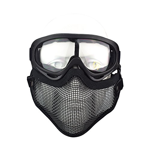 Tactical Airsoft Mask Goggles Set, Airsoft Half Face Mask Steel Meshfor Airsoft, Hunting, Paintball and Shooting (Black Mask + Goggle)