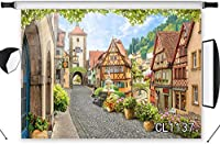 HD European Town Street Backdrops for Photography 10x7ft Spring Flowers Western Buildings Backdrop Rustic Countryside Background Travel Shoot Portrait Photo Studio Shooting Props CL1137