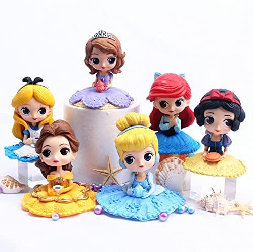6 Piezas 6-9 Cm Princesa Blancanieves Belle Cenicienta Sirena Alice Bella Durmiente Frozen Elsa Anna PVC Figura De Acción Modelo Juguetes Muñecas