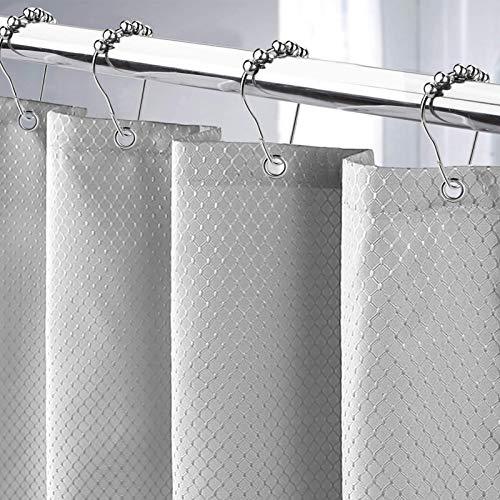 Cortina de Ducha 180x200cm Cortina de Baño Impermeable Tela Poliéster Lavable Antimoho con 12 Anillas de Metal Ducha Diseño de Dobladillo Ponderado (Gris, 180*200CM)