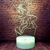 Super Mario Bros 3D Illusion LED Anime Lamp Colourful Desk Night Light Bedroom Decor for Boys
