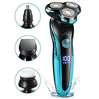 Smtqa Electric Shaver 4 in 1 Men's Shaver 3 Sheets Multifunction Blade Razor Nose Haircut Water Wash Electric Shave LED Display USB Fast Charge Portable for Your Daily Use and Travel from Smtqa