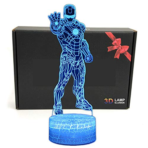 LED Superhero 3D Optical Illusion Smart 7 Colors Night Light Table Lamp with USB Power Cable (Iron Man 1)