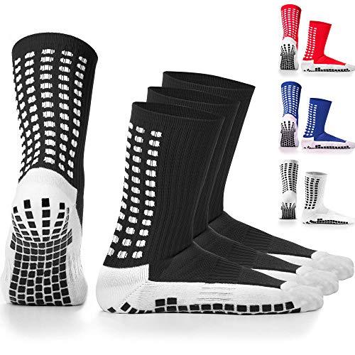 LUX rutschfeste Fußball Socken, rutschfeste Sport Socken, Gummi-Pads, trusox/tocksox Style, Top Qualität, Basketball, Fußball, Wandern, Laufen, Hier in weiß, schwarz, rot, blau Blau blau UK 5.5-16