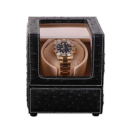 XNDCYX Single Watch Winder Box for Automatic Watches Premium PU Ostrich Leather with Quiet Japanese Motor, 4 Rotation Mode Setting, AC Or Battery Powered