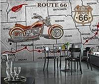 QQYYYT ウォールアートポスター-ルート66モーターサイクルセメント壁テーマコラム壁画ポスター壁装飾絵画
