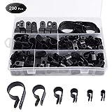 Loscrew - 200 clips de nailon para cable de coche, abrazadera de alambre de plástico, clips de alambre para cables, cables y cables