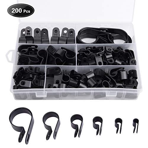 Loscrew - 200 clips de nailon para cable de coche, abrazadera de...