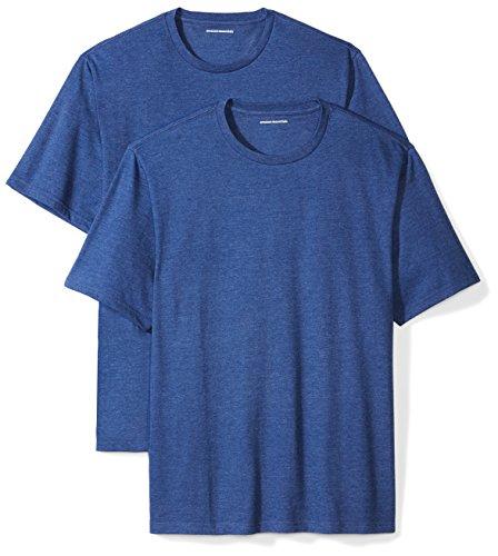 Amazon Essentials 2-Pack Short-Sleeve Crewneck T-Shirt Camiseta, Azul (Navy Heather), Large
