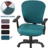 CAVEEN Office Chair Covers Stretchable Computer Office Chair Cover Universal Chair Seat Covers Stretch Rotating Chair Slipcovers Washable Spandex Desk Chair Cover Protectors 2-Pack (Dark Green)
