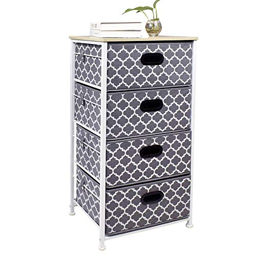 4 Drawers Dresser Organizer, Furniture Storage Tower Chest for Bedroom,Hallway, Entryway, Closets, Nurseries, Sturdy Steel Frame, Wood Top, Easy Pull Handle and Print Drawers