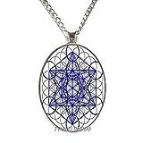 Colgante de cubo de Metatrón,Collar de geometría sagrada,Fondo de diseño hexagonal en espiral azul,Joyería de geometría sagrada,Collar simbólico.Y104