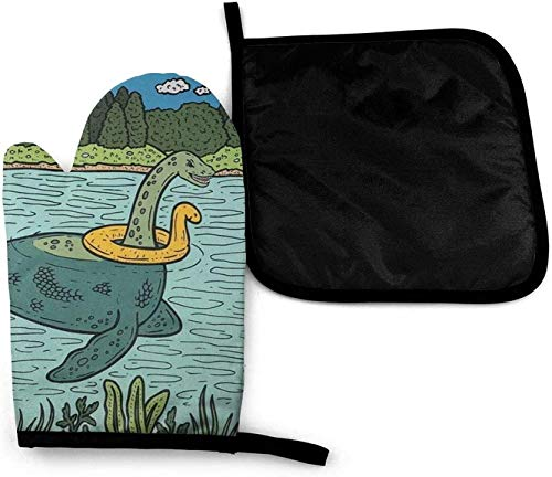 YANGXIN Loch Ness Monster Pool Float Microwave Oven Mitts and Pot Holders Cover Set Heat Insulation Blanket Mat Pad Mittens Non-Slip BBQ Gloves