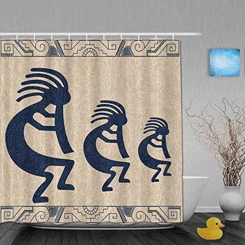 Dekoration Duschvorhang Zusammenfassung Native American Wind Instrument Mysterious Retro Geometric Bath Gardinen Wasserdichter Stoff Badezimmer Dekor Set mit Haken