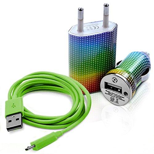Seluxion–Cargador casa + mechero USB + Cable de Data cv13para LG: E900Optimus 7/E960Google Nexus 4/E975Optimus G/GD550P