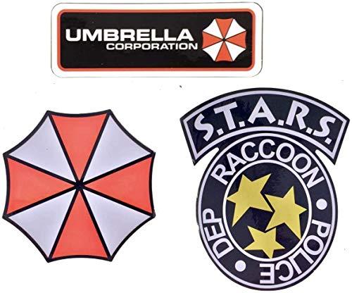 Super6props Polizeiabteilung der Stadt Waschbär S.T.A.R.S. und Umbrella Corporation wasserdichte und UV-beständige PVC 3er-Pack-Aufklebersammlung