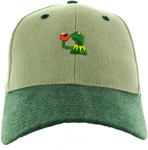 Essencial Caps Kermit The Frog Sipping Tea Emoji Adjustable Plastic Snap Closure Polo Style Embroidered Baseball Hat, Khaki Green