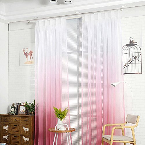 NIBESSER Transparent Farbverlauf Gardine Vorhang Schlaufenschal Deko für Wohnzimmer Schlafzimmer (245cmx140cm, Weiß und Rosa)