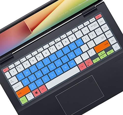 Tastaturabdeckung kompatibel mit 14 Zoll Asus E410, VivoBook S14 S433 M433, ZenBook 14 Q407IQ, VivoBook Flip 14 TM420IA, VivoBook 14 M413 X413 K413 Laptop – Weiß Blau