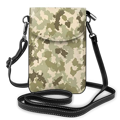 Women Small Cell Phone Purse Crossbody,Old Fashioned Camouflage Pattern Classical Jungle Survival Theme