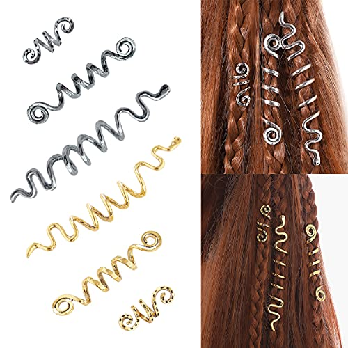 6 Pcs Hair Accessories Loc Hair Jewelry for Women Spiral Dreadlock Rings Viking Jewelry for Braids Metal Hair Clips Decoration Beards Accessories