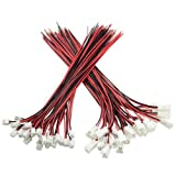 XLX 50PCS 25Pairs 2.54mm 2PIN Female and Male Connection Plug with Red Black Terminal Connector Wire Cable 200mm Compatible with JST XH