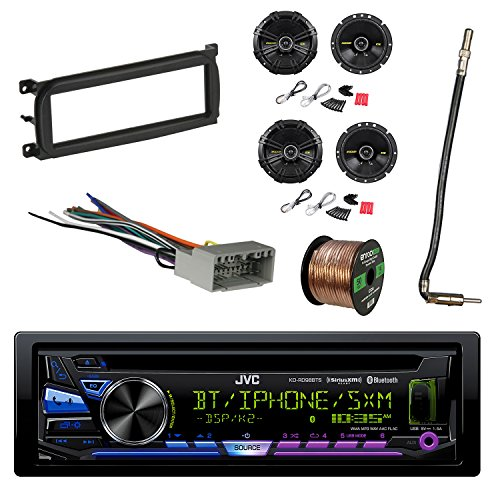 1-DIN Bluetooth Car Stereo with Kicker 600W SPKR(2-Pairs), Dash Kit for Chry/Dodge/Jeep 98-Up, Antenna Adapter Cable, Radio Wiring Harness & Enrock 16G 50' Speaker Wire