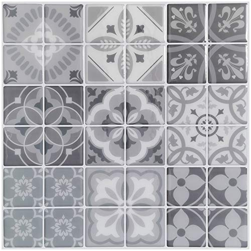 Art3d 10-Sheet Peel and Stick Backsplash Tile Stickers, Gray Talavera Mexican Tiles