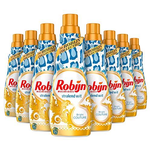 Robijn Klein & Krachtig Stralend Wit Bright Couture Vloeibaar Wasmiddel 8 x 21 wasbeurten - 8 x 735 ml Voordeelverpakking