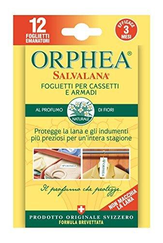 Orphea Salvalana Lot de 4 feuillets antimites au parfum naturel fleuri