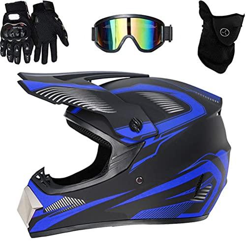 BICBLL Casco de moto de motocross de cara completa con gafas de protección, guantes de protección para la cara para bicicleta de montaña