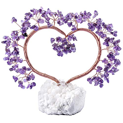 TUMBEELLUWA Natural Crystal Stones Tree with Rock Crystal Cluster Base Quartz Bonsai Money Tree for Home, Office and Feng Shui Decor, Amethyst