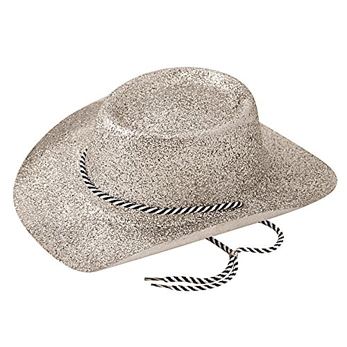Bristol Novelty BH632 Sombrero de vaquero con purpurina, para mujer, plata, talla única