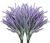 10 Bundles Fake Flowers Artificial Lavender Faux Plastic Plants for Home Decor Wedding Kitchen Garden Patio Porch Window Box Office Table Centerpieces Indoor Outdoor Decorations, Purple