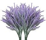 10 Bundles Fake Flowers Artificial Lavender Faux Plastic Plants for Home Decor Wedding Kitchen Garden Patio Porch Window Box Office Table Centerpieces Indoor Outdoor Decorations, Purple