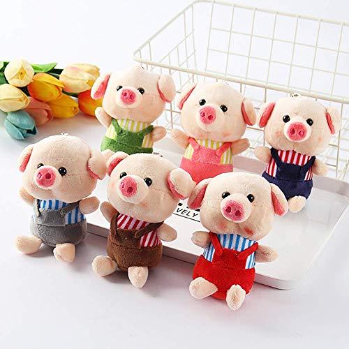 Niedliches Mini-Cartoon-Schwein mit Latzhose, weiches Stoff-Spielzeugtasche, Auto-Hängeornament, beste Wahl