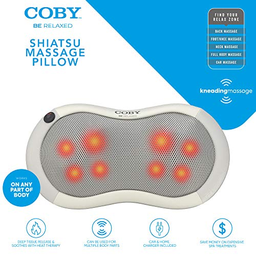 Coby Shiatsu Massage Pillow with Heat | Deep Tissue Kneading Therapeutic Cushion Pad for Back, Neck, Shoulders & Full Body Pain Relief | Rolling Balls & Adjustable Chair Strap for Home, Office & Auto