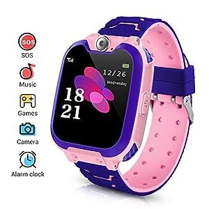 Niños Smartwatch Phone, Smart Watch Phone con Reproductor de música, SOS, Pantalla táctil LCD de 1,44 Pulgadas con cámara Digital, Juegos, Reloj Despertador para niños y niñas (Rosada)
