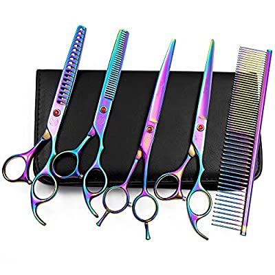 Professional Dog Grooming Scissors Set, 7 Inch/8 Inch Pet Grooming Scissors Chunkers Shears for Dog, Curved Dog Grooming Scissors, Thinning Shears for Dog with Grooming Comb by Moontay