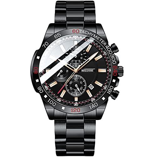 RORIOS Hombre Relojes Impermeable Cuarzo Reloj con Correa de Acero Inoxidable Deportivo Cronografo Relojes de Pulsera para Hombre