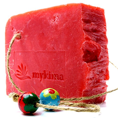 Kaltgerührte Schafmilchseife Granatapfel 150gr | Naturseife liebevoll verpackt im Leinensackerl!