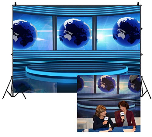 Leowefowa 7X5FT Studio TV Backdrop Interior Broadcasting Backdrops for Photography Global News Reportage Screen Conference Vinyl Photo Background Girls Person Studio Props