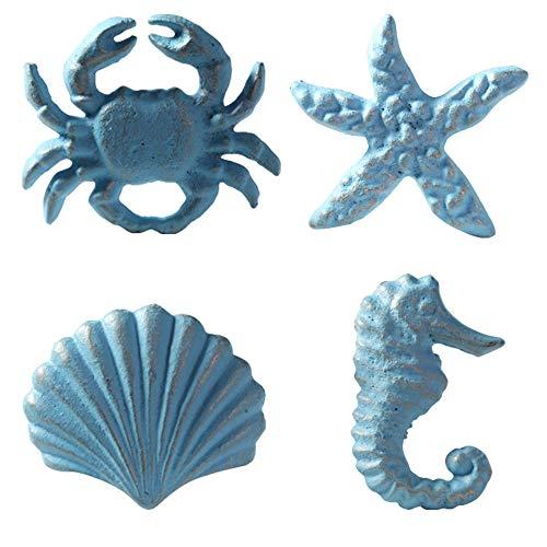 MechWares, pomelli in ghisa per cassetti, in stile marino, a forma di conchiglia, granchio, cavalluccio marino e stella marina, ideali per cassettiere, armadi, porte, sottolavabo, blu