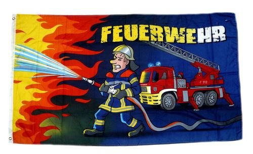 Fahne / Flagge Feuerwehrmann Feuerwehr 90 x 150 cm