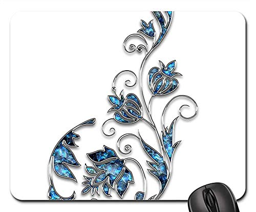 Mouse Pad - Decor Ornament Jewelry Flower Blue Silver 9