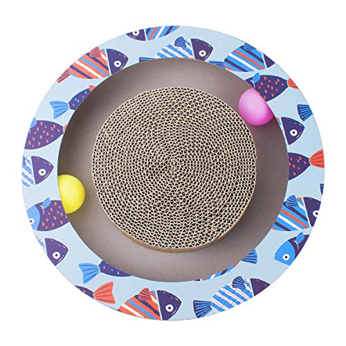Petper Cat Scratcher Scratching Pads, Round Cat Scratch Board with Ball Toy