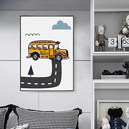 Danjiao Barco De Dibujos Animados Coche Globo Avión Habitación De Los Niños Lindo Cartel Sin Marco Pintura Decorativa Jardín De Infantes Mural Pintura Núcleo Sala De Estar Decor 60x90cm