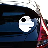 Yoonek Graphics Death Star Inspired by Star Wars Decal Sticker for Car Window, Laptop, Motorcycle, Walls, Mirror and More. # 466 (4', White)