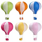 Hot Air Balloon Paper Lanterns for Wedding Birthday Engagement Christmas Party Decoration Stripe Set Pack of 6