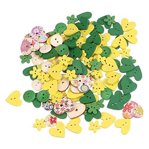Healifty 100 Pezzi Bottoni in Legno 2 Fori a Forma di Cuore Bottoni Fiori Colorati Bottoni Carini Abiti Natalizi Decorazione Bottoni Cucito per Abiti Artigianali Fai da Te (Rosa e Viola)